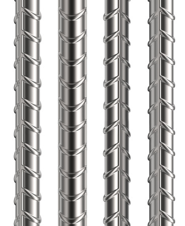 Seamless Reinforcement Rebars Isolated on White Background. 3D Illustration. 스톡 콘텐츠 - 111835819