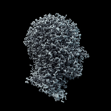 3D Head Shape Made of White Question Marks on Black Background. Confusion Concept Image. 3D Illustration.