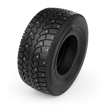 Small Toy Winter Studded Tire Icon on White Background. Spiked Tyre Design Element. 3D Illustration. Stock Photo