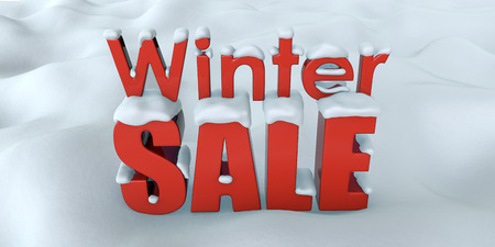Winter Sale Advertising Banner Design. Red Big Sale Letters on Snow. 3D Illustration. Stock Photo