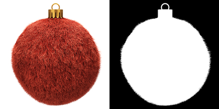 Red Christmas Fur Ball Isolated on White Background. Alpha Mask Attached.3D Illustration.