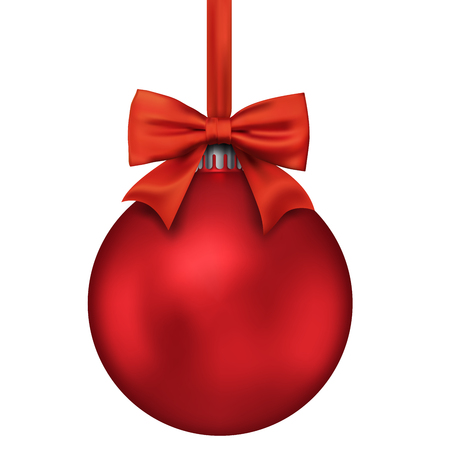Red Christmas Decoration Ball Isolated. Christmas Bauble Hanging on Red Ribbon with Bow. Vector Illustration.