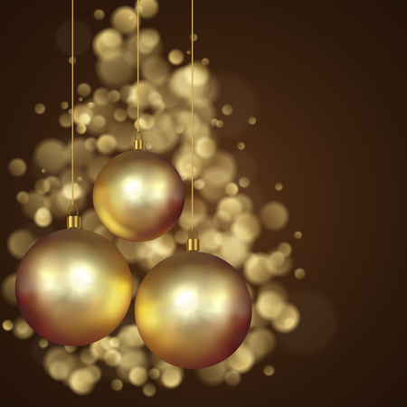 Christmas Gold Decoration Balls Background with Bokeh Effect. Vector Illustration.