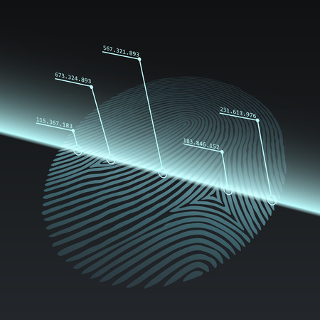 Fingerprint Imprint Technology Concept. Fingerprint Scanned with Optical Scanner. Vector Illustration. Ilustracja