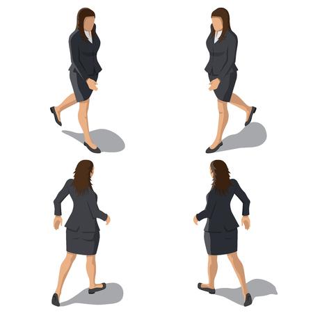 Femme d'affaires isométrique isolé sur fond blanc. Jeune fille marchant en tenue d'affaires. Caractère de la personne pour les illustrations infographiques. Modèle de vecteur.