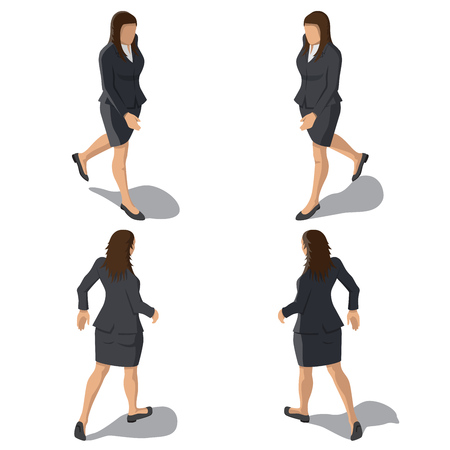 Isometric Businesswoman Isolated on White Background. Young Girl Walking in Business Outfit. Person Character for Infographic Illustrations. Vector Template.