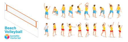 Beachvolleyball-isometrische Spielerfiguren eingestellt. Volleyball-Posen auf weißem Hintergrund. Flaches Design. Vektor-Illustration.