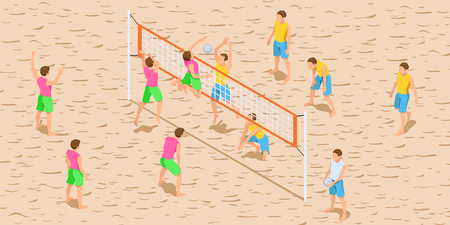 Volleyball Game Isometric Illustration. Beach Volleyball Players in Action. Flat Design. Vector Template.