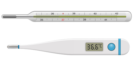 Medical Thermometer Isolated on White Background. Body Temperature Glass and Plastic Thermometer. Vector Illustration. Ilustracja