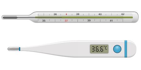 Medizinisches Thermometer, Isolated on White Background. Körpertemperatur-Glas- und Kunststoff-Thermometer. Vektor-Illustration.