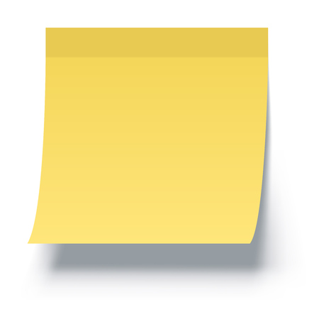 Yellow Sticky Note Isolated on White Background with Shadow. Vector Illustration. Ilustracja