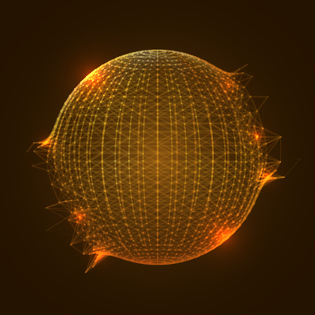 Orange Sphere Mesh Exploding. Dynamic Modern Backdrop with Glowing Effect. EPS10 Vector Illustration. Ilustracja