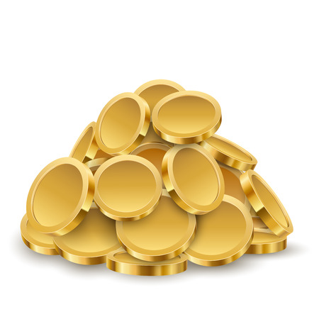 Gold Coins Pile Isolated on White Background. Savings Concept. Vector Illustration.