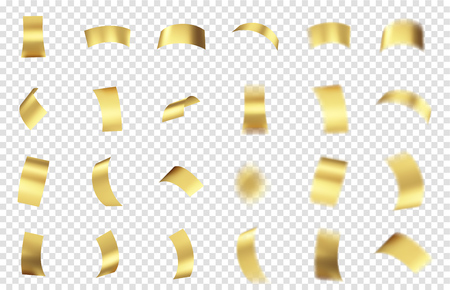 Gold Foil Tinsel Pieces Set. Design Elements for Tinsel Burst. Vector Illustration.