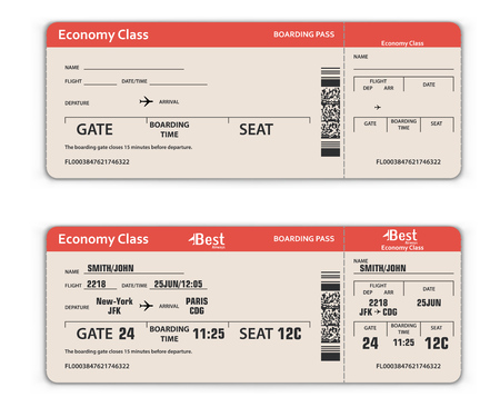 Blank and Filled in Airport Boarding Pass Template. Travel Concept. Vector Illustration. Illustration