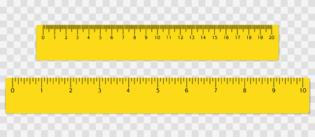 Yellow school ruler with centimeters and inches scale. Vector illustration.