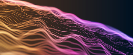 Colorful Orange and Violet Wavy Particle Surface on Black Background. Technology or Science Banner. Particles with DOF Effect. EPS10 Vector Illustration.