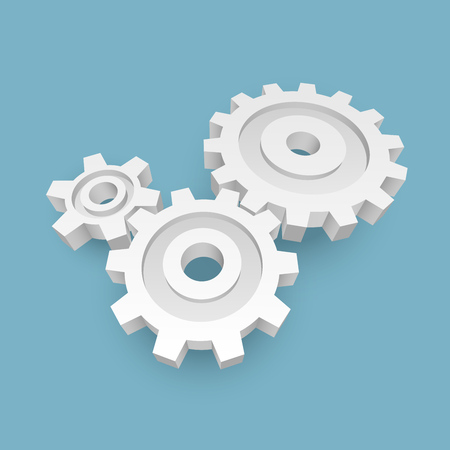 3D White Paper Gears Business Concept Background. Cogwheels Design Element. Vector Illustration. Ilustracja