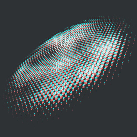 Anaglyph 3D Halftone Design Element. Vector Illustration. Ilustracja