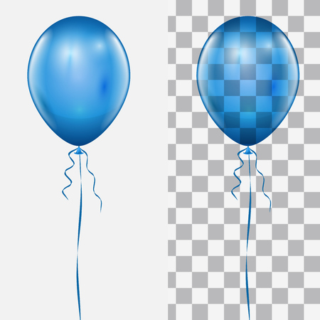 Realistic Blue Balloon Isolated on White and Checker Background Vector Template. Ilustracja