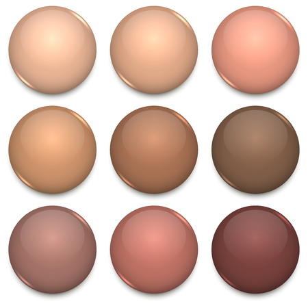 Beige and Brown Tone Color Glossy Blank Badges Vector Template. Ilustracja