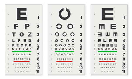 Traditional Eye Test Charts Isolated on White Background. Vector Template.