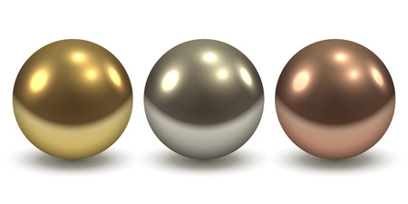 Gold, Silver and Copper Glossy Metal Balls Isolated on White Background. Vector Illustration.