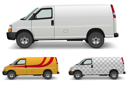 White Cargo Van Side Design Mockup. Blank White Delivery Minivan on White Background. Vector Illustration. Replace with any color, pattern or design.