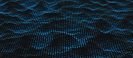 Blue Wavy Particle Dots Surface on Black Background. Abstract Technology or Science Banner. Cyber Space Background. Particles with DOF Effect. EPS10 Vector Illustration. Ilustração