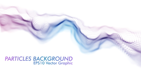 Purple and Blue Twisted Wavy Particle Wave on White Background. Technology or Science Banner. Particles with DOF Effect. EPS10 Vector Illustration.