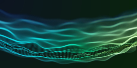 Colorful Green and Blue Wavy Particle Surface on Black Background. Technology or Science Banner. Particles with DOF Effect. EPS10 Vector Illustration.