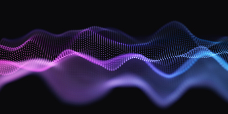 Blue and Purple Wavy Particle Surface on Black Background. Abstract Technology or Science Banner. Cyber Space Background. Particles with DOF Effect. EPS10 Vector Illustration.