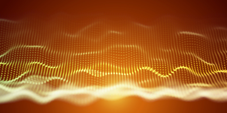 Yellow Wavy Particle Surface on Orange Background. Abstract Technology or Science Banner. Cyber Space Background. Particles with DOF Effect. EPS10 Vector Illustration.