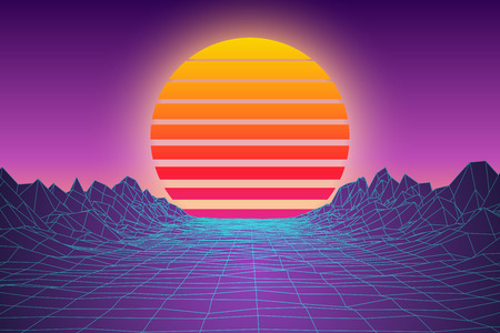Abstract Sunset Landscape Digital 80s Game Style Background. Retro Virtual Space Terrain Backdrop. Vector Illustration.