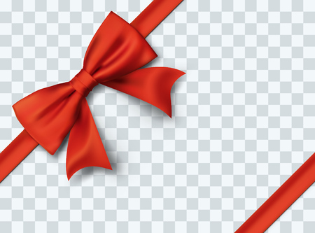 Gift Box Bow. Present Decoration Element. Red Bow and Ribbon Template. Vector Illustration. Ilustração