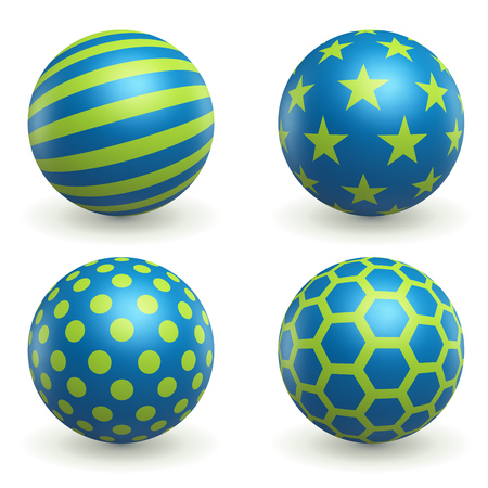 Green and Blue Textured 3D Spheres Set Isolated on White Background. Ball with Pattern Icons Collection. Round Design Element. Vector Illustration.
