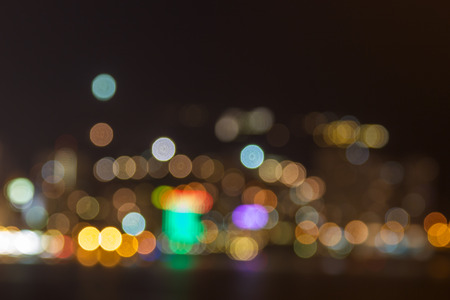 Abstract Big City Lights Bokeh Background. Night City Defocussed Backdrop.