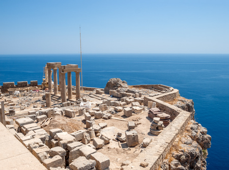 Lindos Acropolis Ruins on the Sea Cliff, Rhodes, Greece.