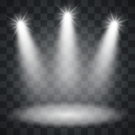 Three Spotlights Template on Checker Background. Light Background. Vector Illustration. Ilustração