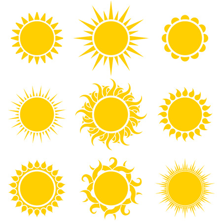 Abstract Yellow Sun Shapes Set Isolated on White Background. Vector Illustration. Ilustração