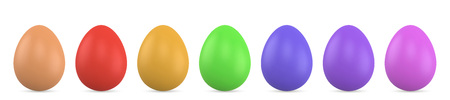Color Easter Eggs Isolated on White Background. Realistic Vector Illustration. Ilustração