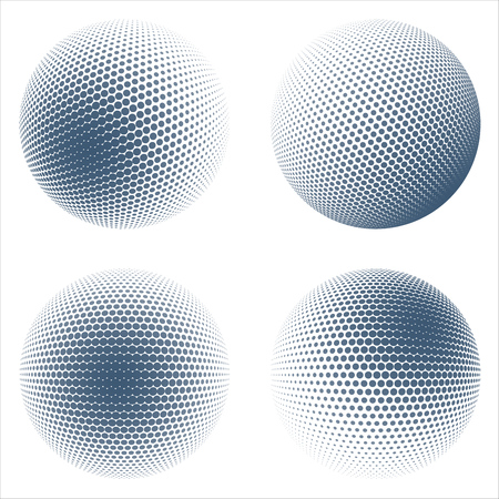 Halftone Sphere Design Elements Set. Halftone Patterned Balls. Vector Illustration.