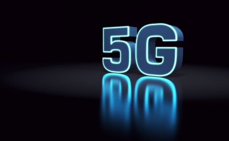 5G Technology Background. 5G Sign with Glowing Light Edges Banner Design. 3D Illustration. Stockfoto