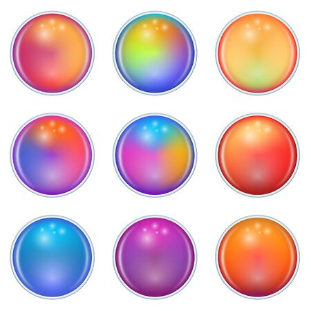 Colorful Soft Gradients Glass Spheres. Colorful Balls Isolated on White Background. Vector Illustration.