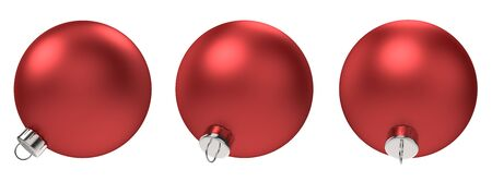 Christmas Decoration Red Ball Set Isolated On White Background. 3D Illustration. Stockfoto