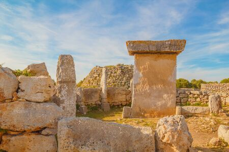 Talaiot y Taula de Trepuco Ruins at Menorca Island, Spain. Ancient Megalithic Village Structures.