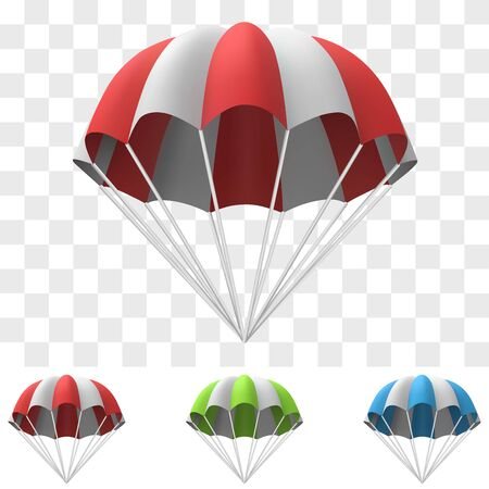 Red and White Cartoon Parachute Template. Design Element for Advertising Banners and Posters. Vector Illustration.