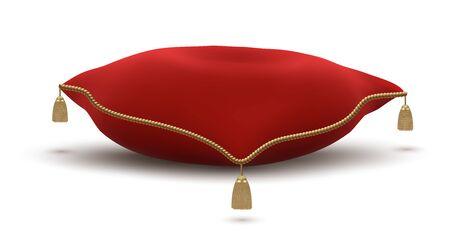 Almohada roja vintage con borlas doradas para colocar objetos de lujo o corona aislado sobre fondo blanco. Ilustración de vector. Ilustración de vector