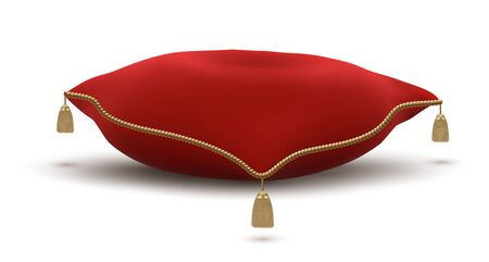 Vintage Red Pillow with Gold Tassels for Placing Crown or Luxury Objects Isolated on White Background. Vector Illustration.