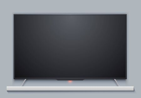 Black Blank TV Set Screen with Gray Wall Behind. LED Television Receiver Realistic Mockup. Vector Illustration.